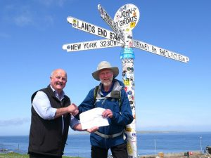 Charity founder Brian Burnie arrives at John O'Groats!
